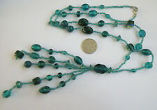 Beads Necklace Beautiful Blue Vintage Hippy Style Dangly Glass