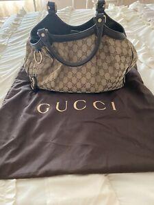 GUCCI GG SUKEY  Medium Authentic. Brown Cream Canvas Handbag
