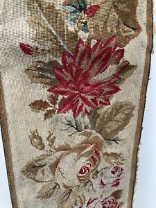 "Antique Needlepoint Tapestry Large Antique Vintage Floral Banner 14"" X 92"""