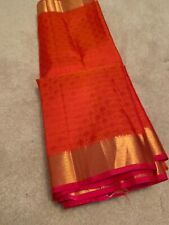 India KANCHIPURAM Orange & PINK SILK SAREE with BLOUSE Fashion Gold ZARI Pattu