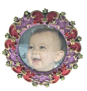 Mini Round Picture Frame 031RD Made with Swarovski Crystal Cute Baby Photo Frame