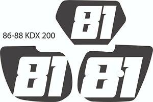 86 87 88 1986 1987 1988 Kawasaki KDX Pre Printed Number Plate Background Decal