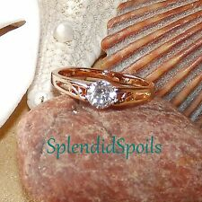 REDUCED! SOLITAIRE CZ CATHEDRAL SET IN SIZE 6.5 9K ROSE GOLD-FILLED RING-NEW