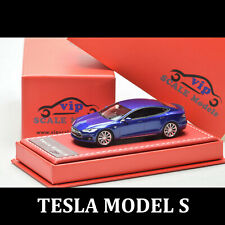 VIP 1:64 TESLA MODEL S Blue Resin Diecast Car Model Limited Edition Replica Rare