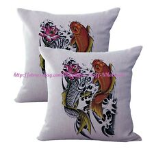 US SELLER-2 pcs throw pillows for leather Chinese Japanese Koi Art cushion cover