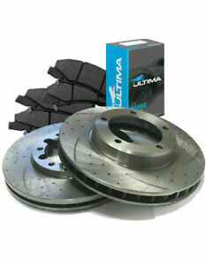 SLOTTED DIMPLED Front 298mm BRAKE ROTORS ULTIMA PADS FORD FALCON BA BF FG NA