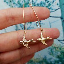 DESIGNER 18K GOLD FILL BIRD EARRINGS ON LONG HOOKS HANDMADE JEWELLERY GIFT