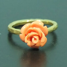 Handmade Hammered Band Coral Carved Ring 22K Gold over 925 Sterling Silver
