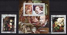 BL54 TCHAD 1 bloc et 2 timbres oblitérés,Le peintre Rubens et tableaux de maitre