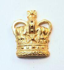 Royal British Crown Pin Badge in Gold Plated English Pewter, Handmade (WA)