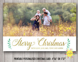 Personalised Photo Cards Print Your Own or We Print Fun Gold Foil Faux and leaf