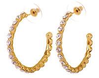 Swarovski Elements Crystal Recreation Hoop Pierced Earrings Gold Authentic 7204v