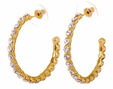 Swarovski Elements Crystal Recreation Hoop Pierced Earrings Gold Authentic 7202c