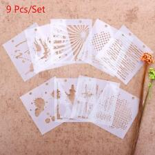9PCS Drawing Airbrush Painting Stencil DIY Craft Album Scrapbooking Ornaments YU
