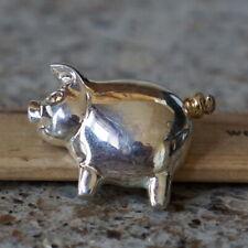 Pig Swirly Tail Signed Ak Brooch - Silver Tone Metal Vintage