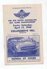 1968 Collingrove Hill Climb Programme Production Touring Racing Sports a Program