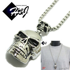 "30""MEN's Stainless Steel 4mm Silver Box Link Chain Necklace SKULL Pendant*P44"
