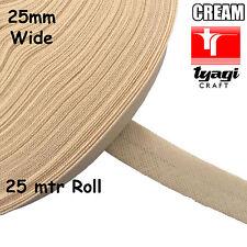 RULLO 25mtr larghezza 25mm NASTRO SBIECO 100% cotone crema bordo di taglio cucitura vincolante Cuscino