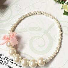 Toddlers Children Purple Baby Girl Imitation Pearls Necklace Bowknot Lace