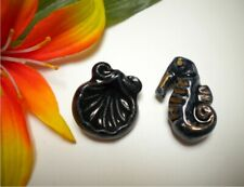 VINTAGE FRENCH CERAMIC FAN SHELL AND SEA HORSE BUTTONS