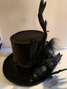 Katherines Collection Halloween Black Velvet Top Hat