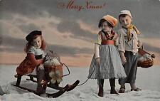 MERRY XMAS! Christmas Greetings Children & Sled Vintage Postcard 1912