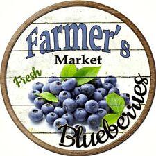 "Farmers Market Blueberries 12"" Round Metal Kitchen Sign Novelty Retro Home Decor"