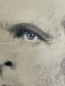 Mammoth Plate Panted Tintype Excellent Condition Blue Eyes.