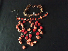 RED/ORANGE BAMBOO CORAL CHUNK BEADS DRILLED MEDITERRANEAN PETRIFIED WOOD AZ