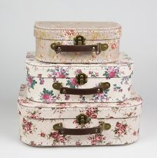 Set of 3 Vintage Rose Floral Suitcases Sass & Belle Girls Bedroom Storage