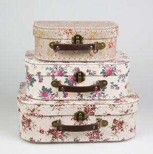 Set of 3 Vintage Rose Floral Suitcases Sass & Belle Girls Bedroom Storage