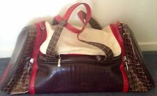 $ Drop As New Spencer & Rutherford Travel Bag Luggage Brown Red Cream Never Used