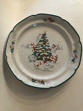 "Country Christmas International Dinner Plates Vintage Stoneware 11"" Tree Animals"
