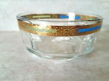 New ListingArcoroc France Crystal Dish 22k Gold Rim, Blue & Green glass accent Vintage