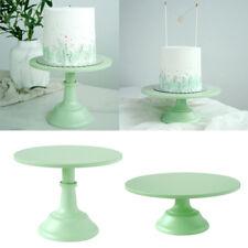 Metal Round Display Cake Stand Food Platter Serving Rack Holder, Green, 10''