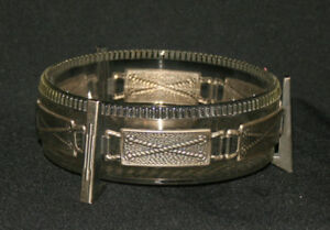 Vintage European Clear Glass Bowl w/ Metal Tin Holder