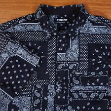 Men's Trukfit Paisley Black Button Down Short Sleeve Medium