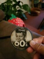 Vintage John F Kennedy Flasher Pin JFK Pin The Man of the 60 s Pin 2 1/2 ""