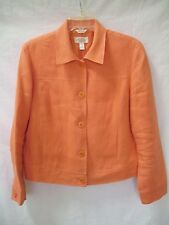TALBOTS Orange 100% Irish Linen Jacket sz 10