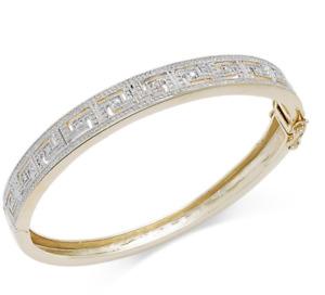 Macy's Diamond Accent Greek Key Bangle Bracelet Fine Silver Plated Brass. NWOT