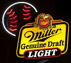 Miller Draft Light Beer Authentic Baseball Neon Sign Made In USA