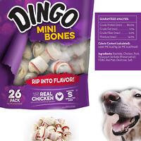 Dog Treats Mini Bones Rawhide Chews Made Real Chicken Snack Dental Care 26 pcs