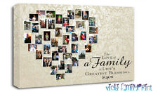 "FAMILY 20""x30"" HEART SHAPED COLLAGE CANVAS QUOTE PERSONALISED PHOTO CHRISTMAS"