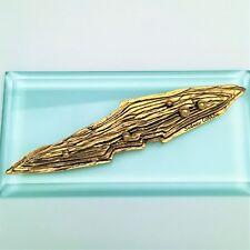 Vintage 1980's Sidney Carron Paris Modernist/Brutalist Gold Plated Brooch