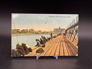 Fishing on Piers - Macatawa, Mich - Postmarked 1913