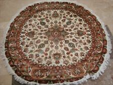 Wow Ivory Round Exclusive Hand Knotted Rug Wool Silk Carpet (5 x 5)'