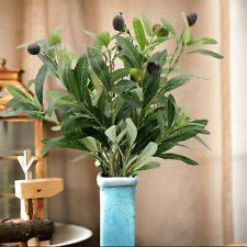 Artificial Olive Plants Branch Leaf with Fruit Silk Flowers Living Room Decor