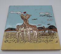 """Ceramic Art Tile Trivet 8"""" x 8"""" Made in Italy Kissing Giraffe Pair"""