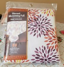 "Vinyl Tablecloth Oblong 60"" in 84"" ~ Blossoming Fall vinyl tablecloth"