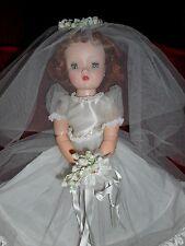 VINTAGE CISSY BRIDE DOLL Satin Bodice-NO SPLITS, CLEAR BLUE EYES, FAB REDHEAD